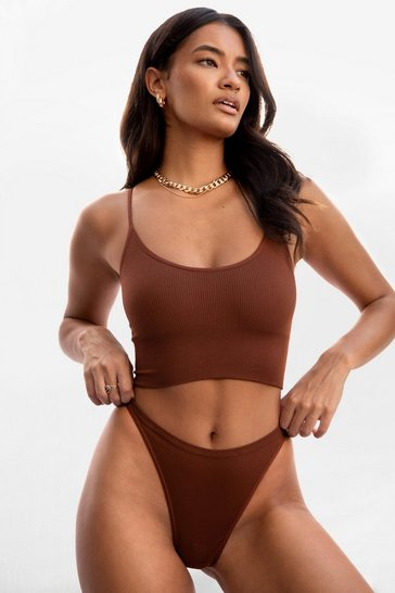 Brown Seamless is More Ribbed High-Leg Thong