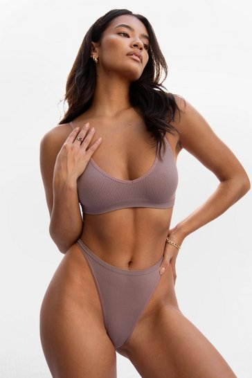 Mocha Seamless is More Ribbed High-Leg Thong