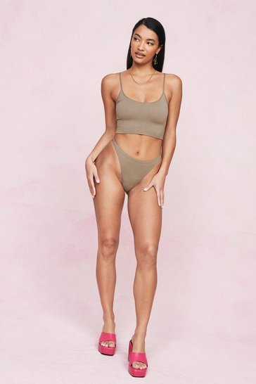 Taupe Seamless Ribbed High Waisted Thong