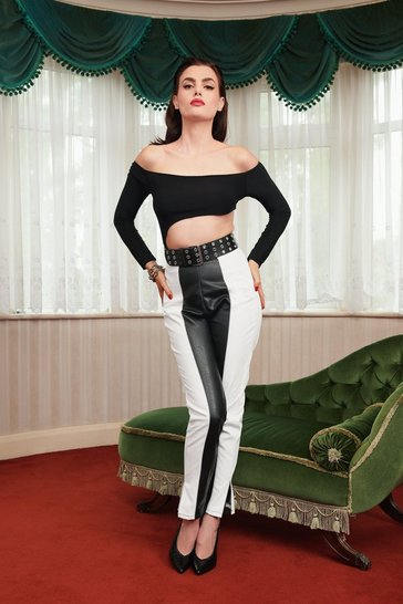 Black That's Two-Tone Bad Faux Leather Tapered Pants