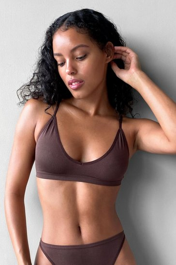 Chocolate Seamless Nights V-Neck Bralette