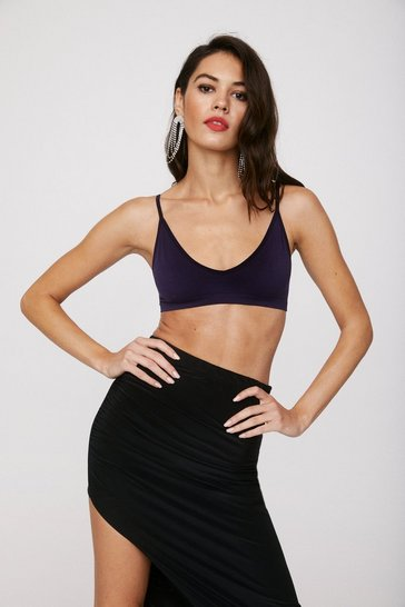 Purple Seamless Jersey V-Neck Bralette