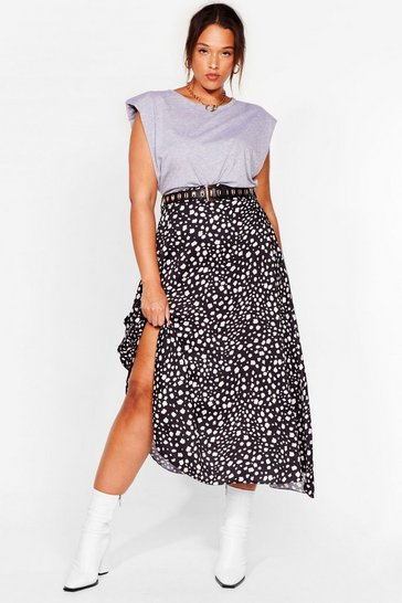 Black Plus Size Dalmation Print Midi Skirt
