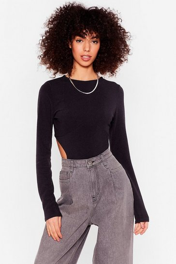 Black Work It Cut-Out Ribbed High-Leg Bodysuit