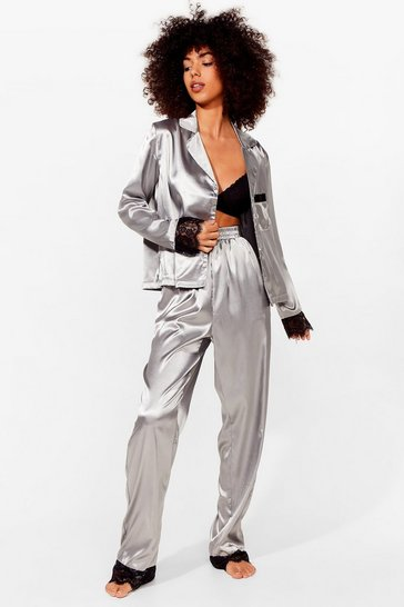 Grey Invest in Rest Satin Lace Pajama Shirt and Pants Set