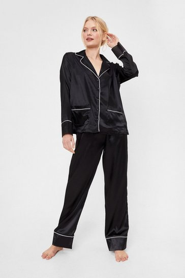 Black Contrasting Satin Pajama Shirt and Pants Set