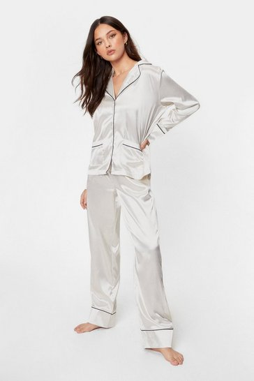 Cream But First Sleep Contrasting Satin Pajama Set