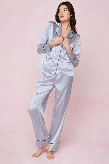 Dusty blue Contrasting Satin Pajama Shirt and Pants Set