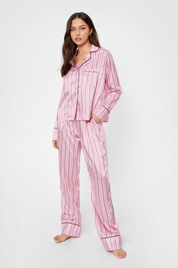 Pink Hold It Stripe There Satin Pajama Pants Set
