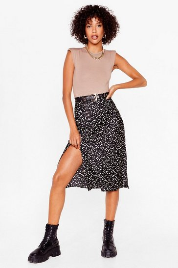 Black Polka Dot Slit Satin Midi Skirt