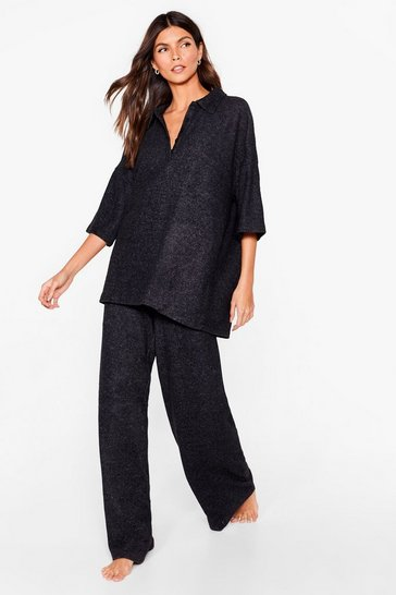 Charcoal Brushed Knit Top and Trousers Loungewear Set