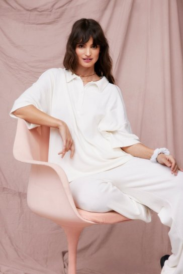 Cream Brushed Knit Top and Trousers Loungewear Set