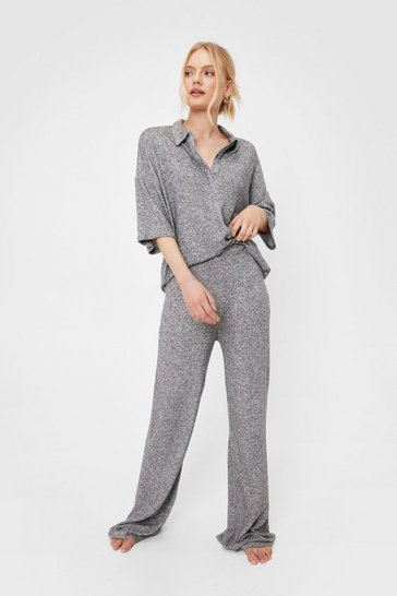 Grey Brushed Knit Top and Trousers Loungewear Set