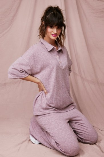 Mauve Brush on Over Wide-Leg Pants Lounge Set