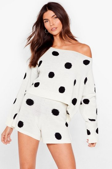 Black Polka Dot Jumper And Shorts Set