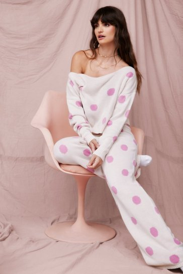 Pink Polka Dot Wide Leg Loungewear Set