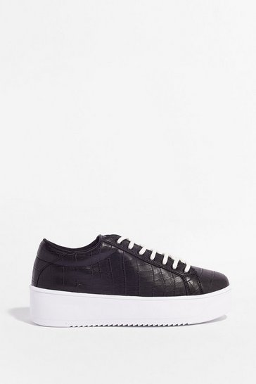 Black Croc 'Em Out Faux Leather Platform Trainers