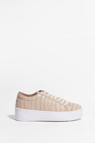 Nude In a While Crocodile Platform Trainers