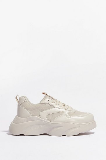 Nude Cut and Run Faux Leather Mesh Chunky Trainers