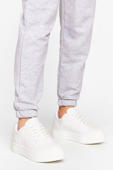 White Faux leather flatform Sneaker
