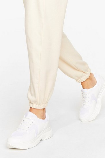 White Mixed Fabric toe bump chunk sneaker