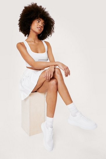 White Faux leather flatofrm boater lace up sneaker