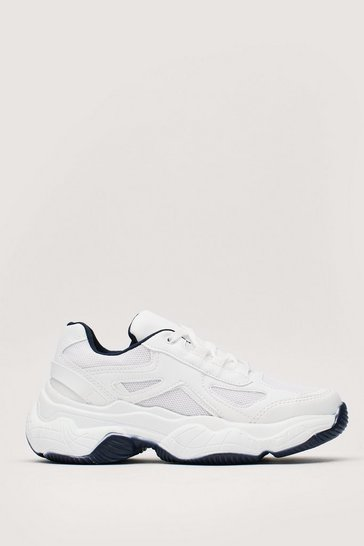 White Nothing Gets Contrast Us Chunky Trainers