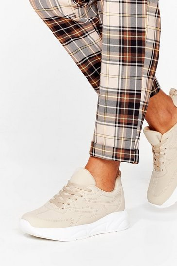 Beige Run Around Faux Leather Chunky Sneakers