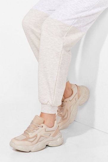Beige Run for It Faux Leather Chunky Sneakers