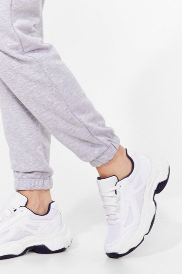 White Run for It Faux Leather Chunky Sneakers