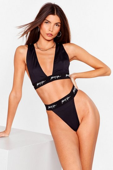 Black Nasty Gal Word on the Street Bralette and Thong Set
