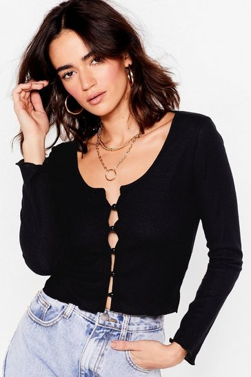 Black Love Button Top Petite Ribbed Cardigan