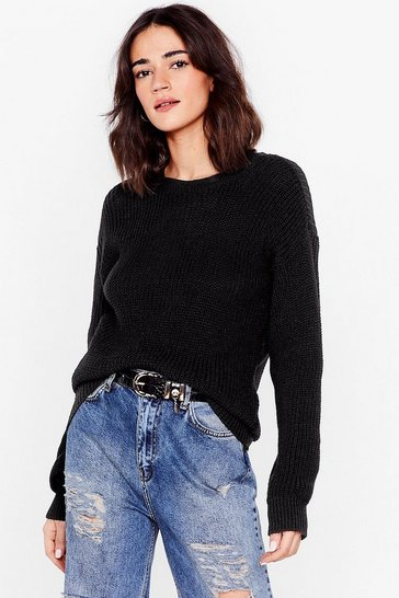 Black Petite Oversized Crew Neck Knit Sweater