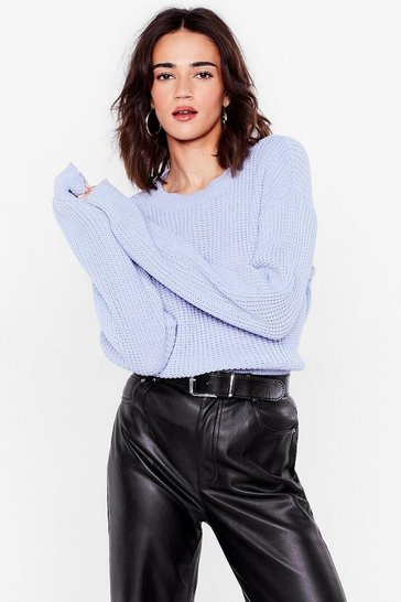 Dusty blue Petite Oversized Crew Neck Knit Sweater