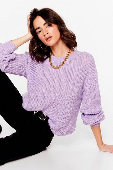 Mauve Knitting the Spot Petite Relaxed Sweater