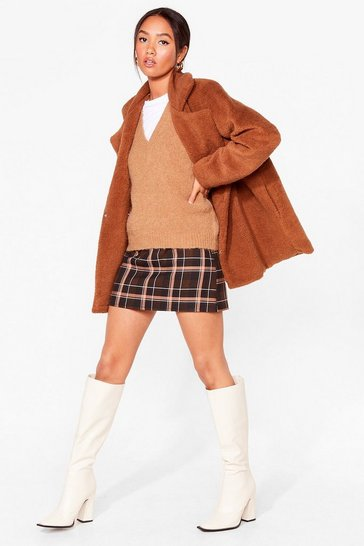 Camel Long December Petite Longline Faux Fur Coat