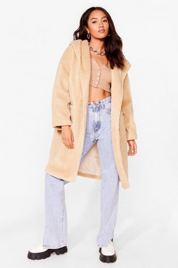Sand As You Faux Fur Petite Hooded Longline Coat