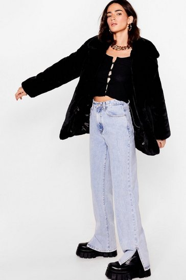 Black Go Faux Fur It Petite Oversized Coat