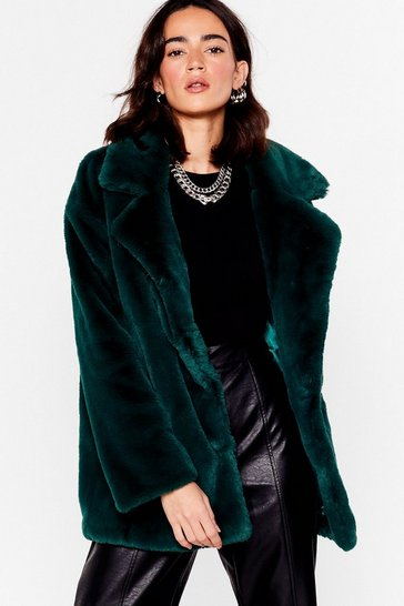 Teal Go Faux Fur It Petite Oversized Coat