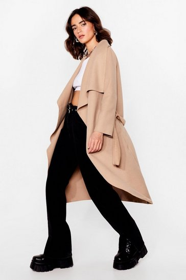 Camel Waterfall Into Place Petite Belted Coat
