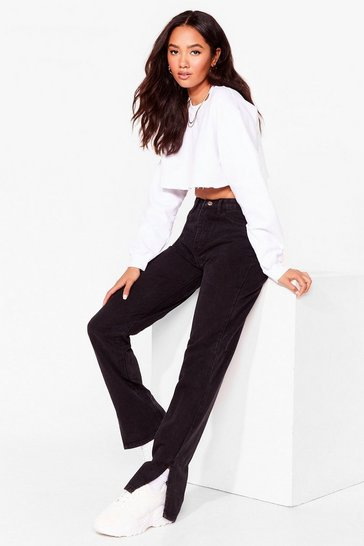 Black Slit's Now or Never Petite High-Waisted Jeans