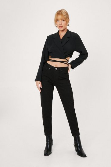 Black Petite Straight Leg High Waisted Jeans
