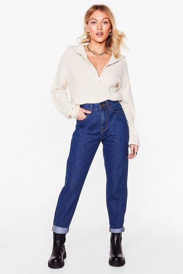Mid blue Petite High Waisted Tapered Mom Jeans