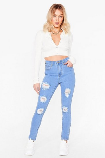 Light wash Cut the Crap Petite Distressed Jeans