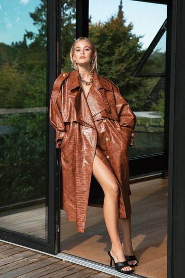 Brown Croc Our World Faux Leather Belted Trench Coat