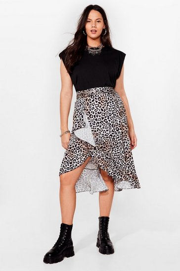 Stone You're Driving Us Wild Plus Leopard Midi Skirt