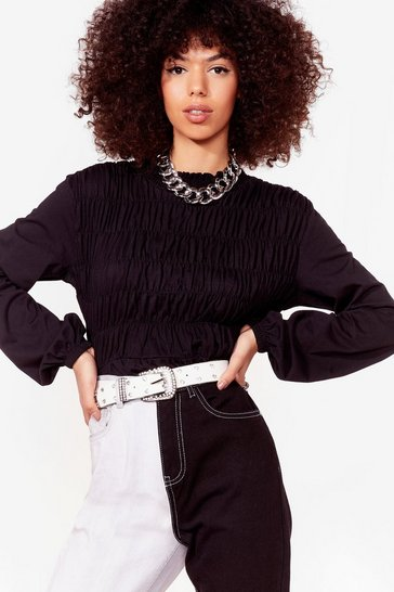 Black Rest A-shirred Relaxed Blouse