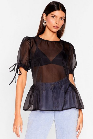 Black Sheer's to Us Puff Sleeve Tie Blouse
