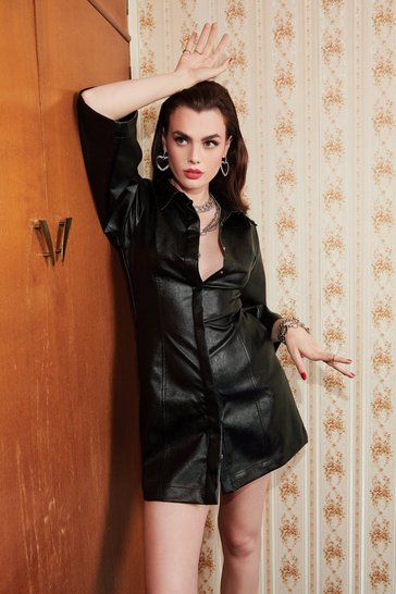 Black Faux Leather Turning Back Button-Down Mini Dress