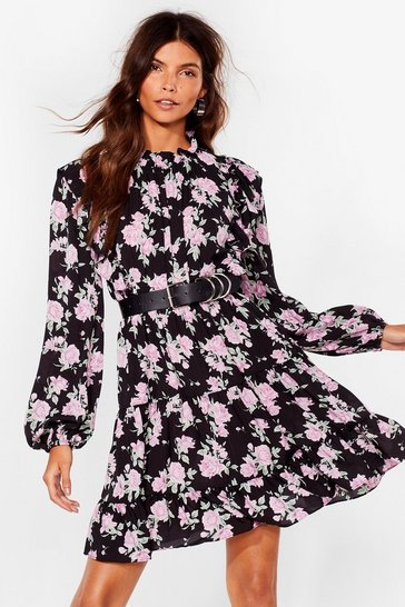 Black Chiffon Long Sleeve Floral Mini Dress